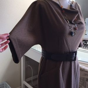 Ellen Tracy Dresses - Ellen Tracy Dolman sleeve belted brown dress.